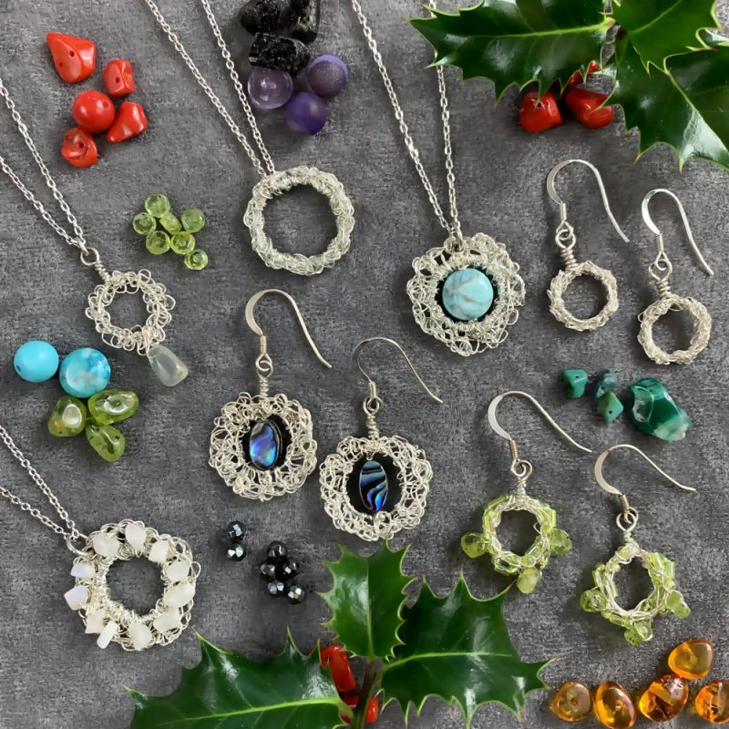 Hand Crochet Sterling Silver ethically sourced Filigree Gemstone Jewellery