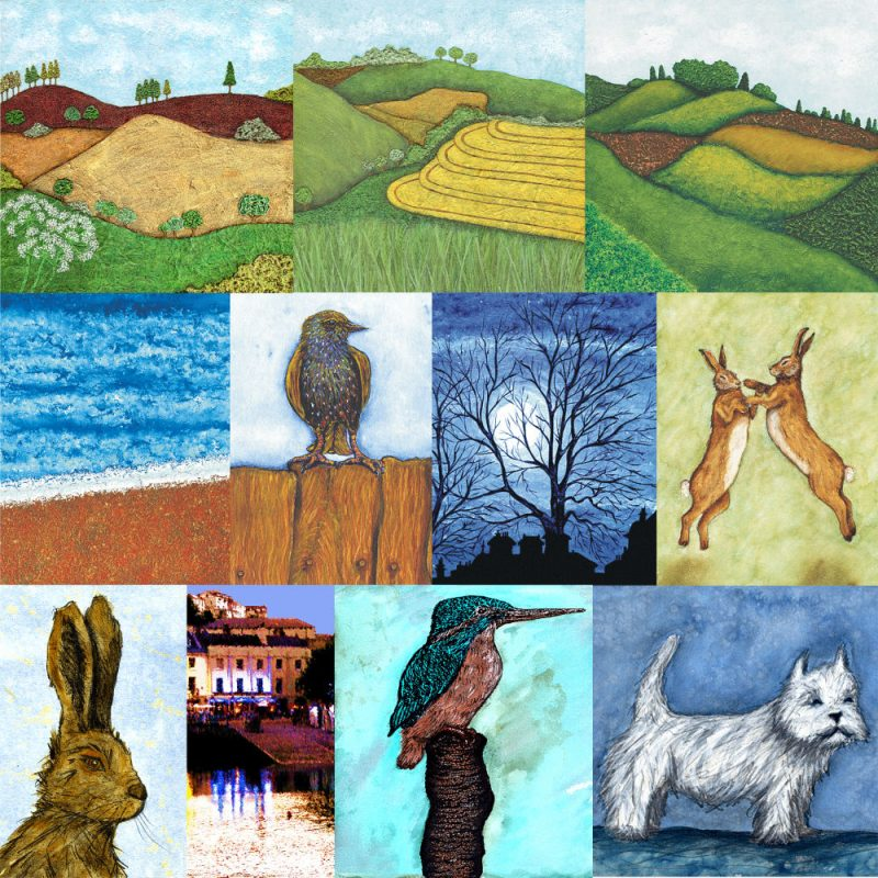 Colourful expressive Wildlife and Landscape Painting, Collage and Fine Art Prints