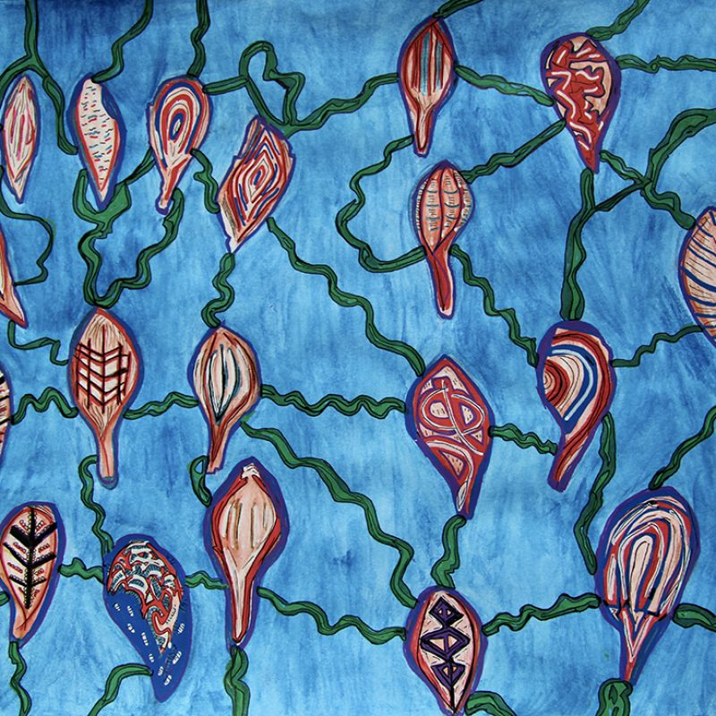 A pattern of red flowers linked by wavy green stems on a watery blue background