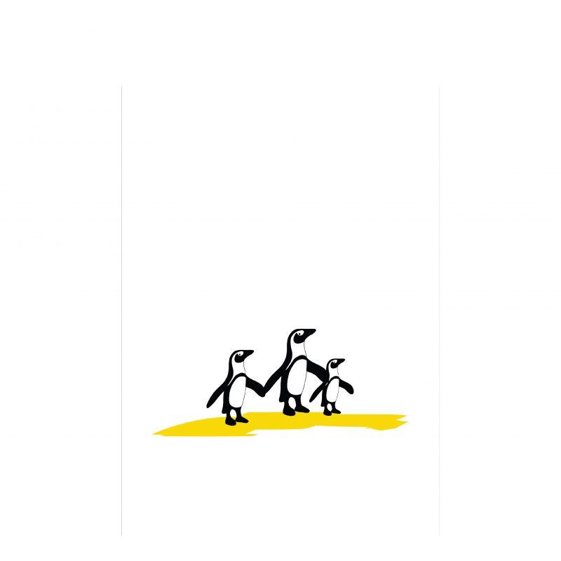 Hannah Issi Penguin Family Print -3 Penguins Holding Hands