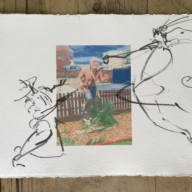 Figurative action drawing of First Nations man fighting cowboy over a digital print on Khadi Rag paper