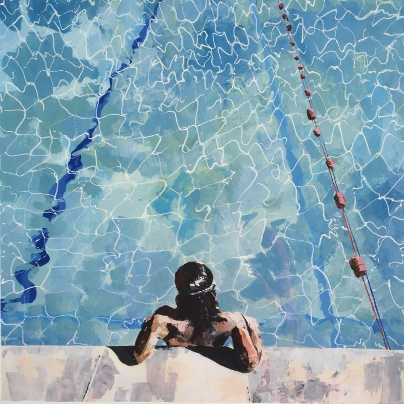 Giclee Print of a woman leaning back immersed in water at the end of Pells Pool