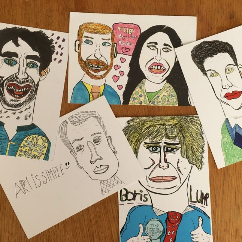 a set of caricature postcards of famous people