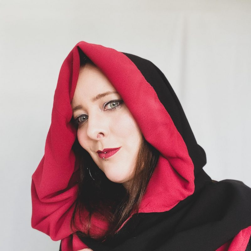 Hooded infinity scarf, extra large hooded scarf. Vintage style hood, red and black scarf.
