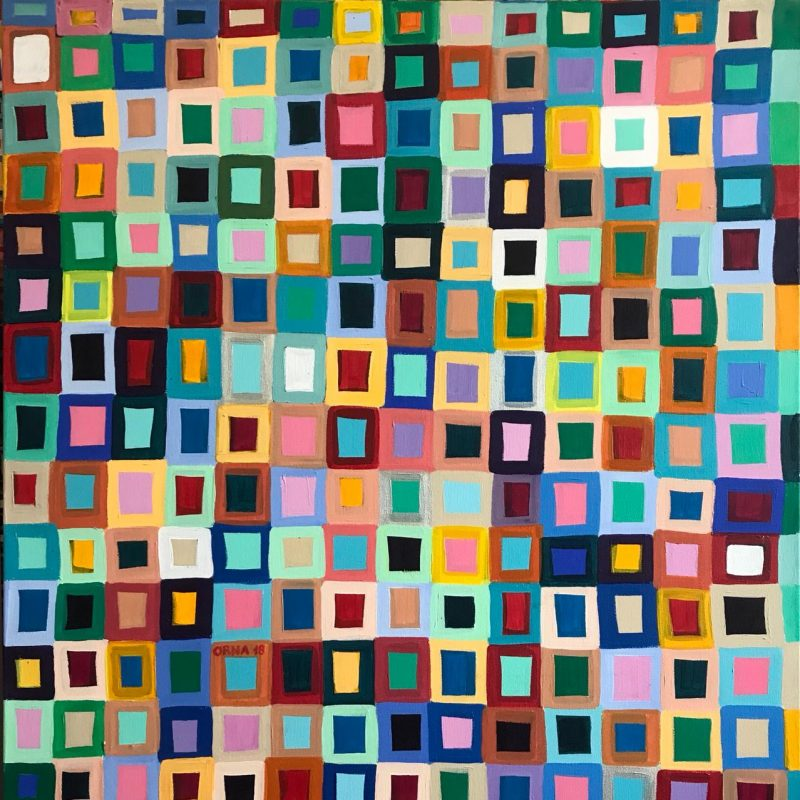 A painting of colourful squares that resemble windows