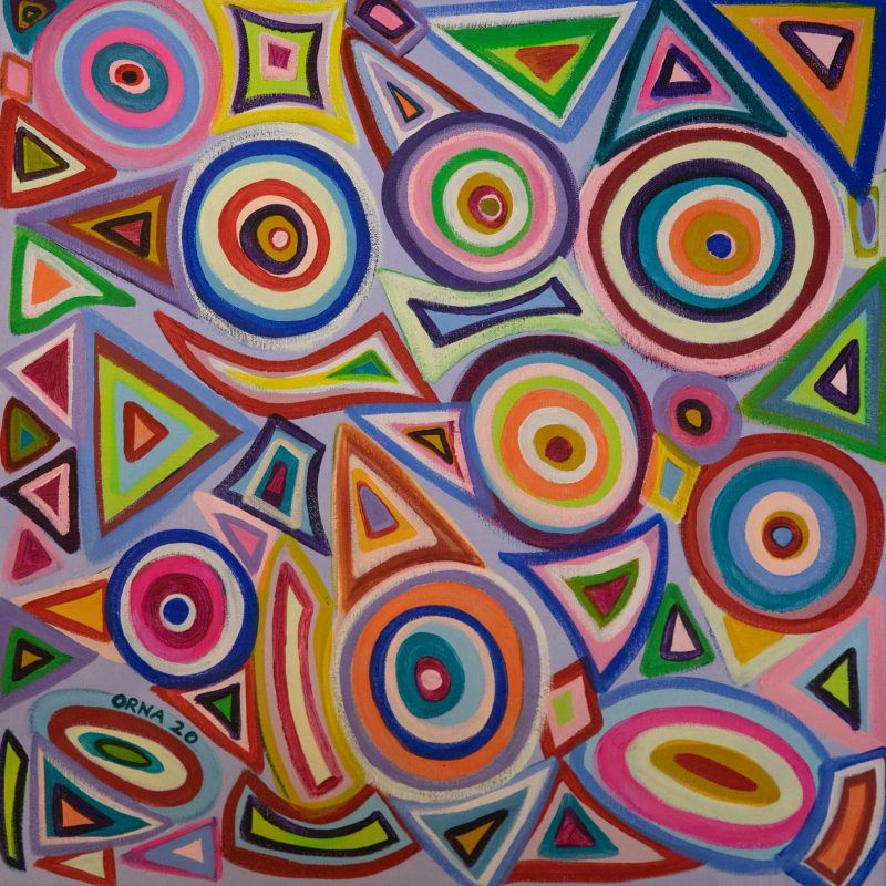 Colourful abstract painting of circles and other geometrical shapes
