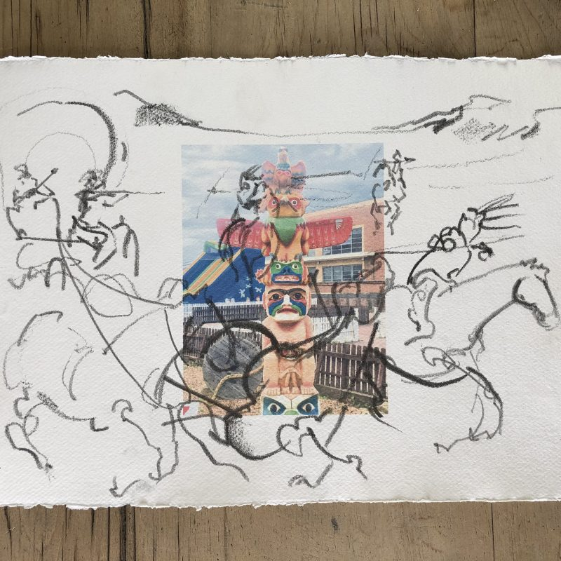 Figurative action drawing of wagon train ambush over a digital print on Khadi Rag paper