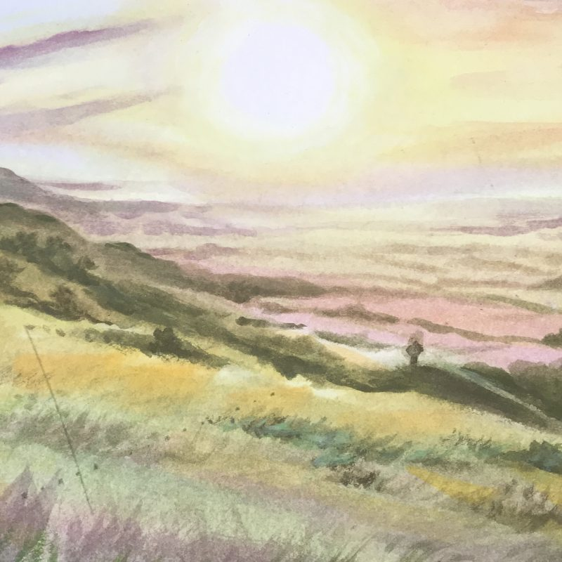 Painting in pinks, yellows and greens of view from Ditchling Beacon