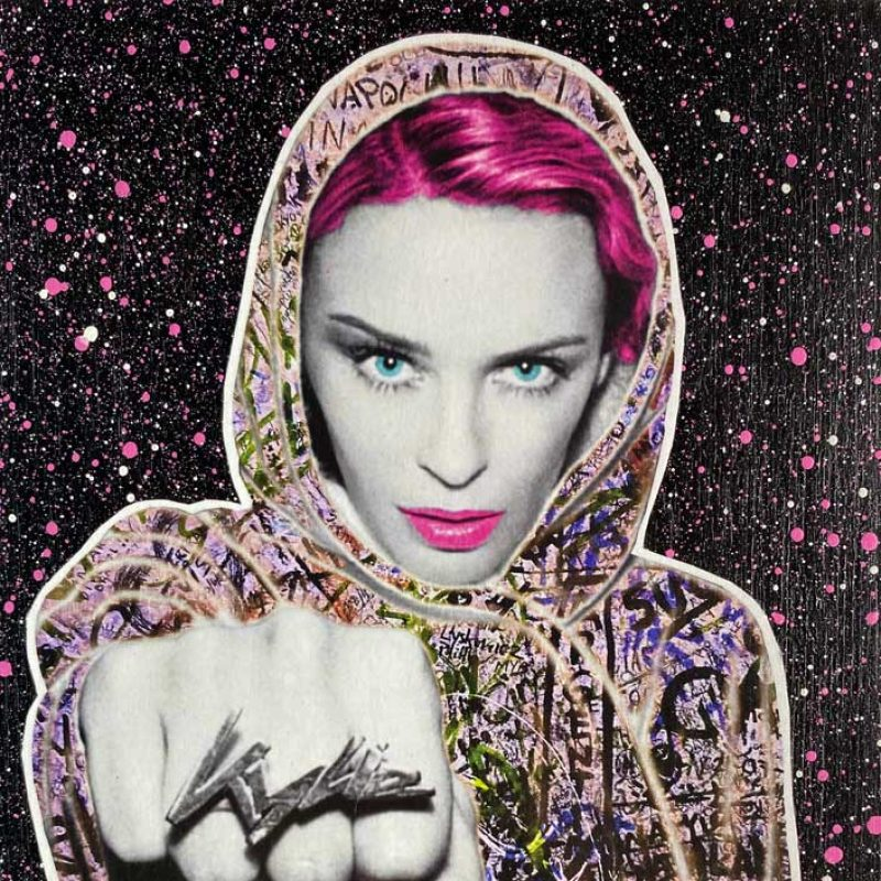 Street Art image of Kylie Minogue with graffiti on her coat and a fist to the front of the image