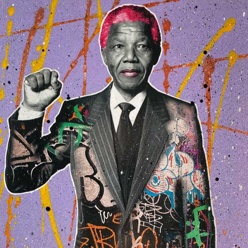 A highly stylized image of Nelson Mandela with purple red and yellow background and a graffiti jacket , making the 'Black Power' gesture