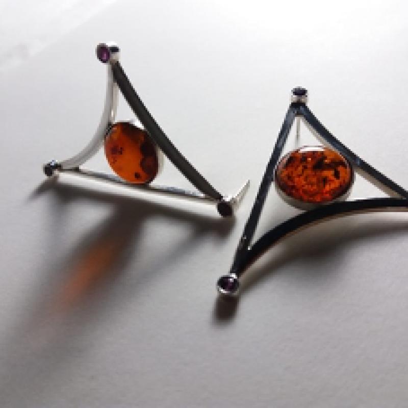 Fire Red Amber Earrings