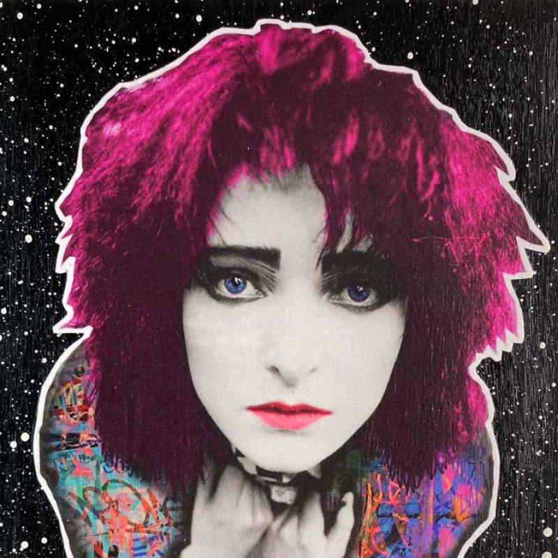 A sylized image of Siouxsie Sioux, punk queen  with red hair.