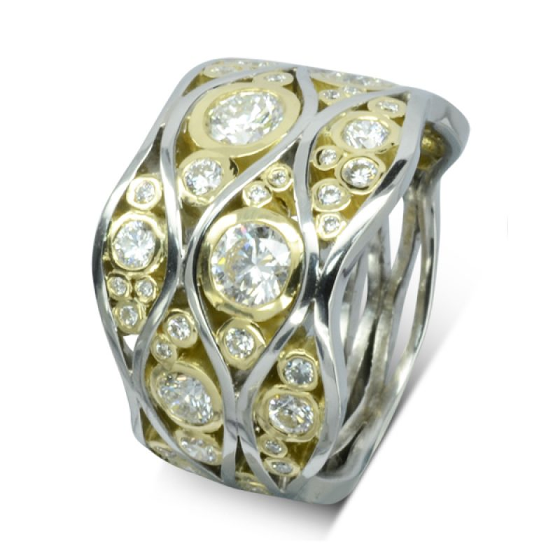 six platinum waving bands trapping round diamonds in yellow gold settings