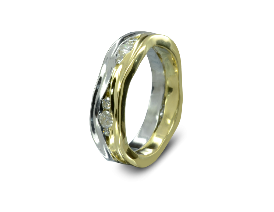 A band of hammered platinum and a band of hammered gold with diamonds trapped in the gaps between them