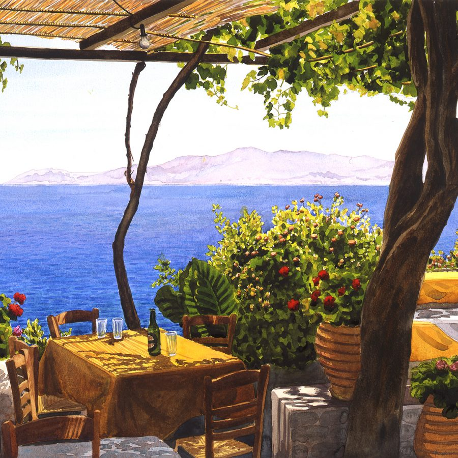 Tables under a Vine Canopy by the Sea