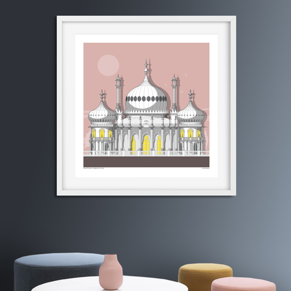 A frame on a dark grey/blue background showing an illustration of the Royal Pavilion on a pink background.