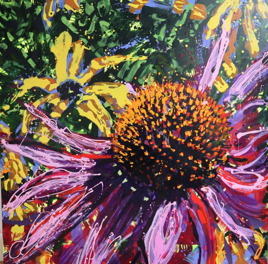 Large oil painting of head of Echinacea with Rudbeckia in background