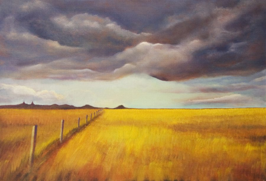 Acryllic painting of local landscape featuring stormy sky and open downland