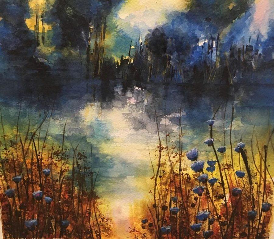 A riverside scene in dark blues and orange