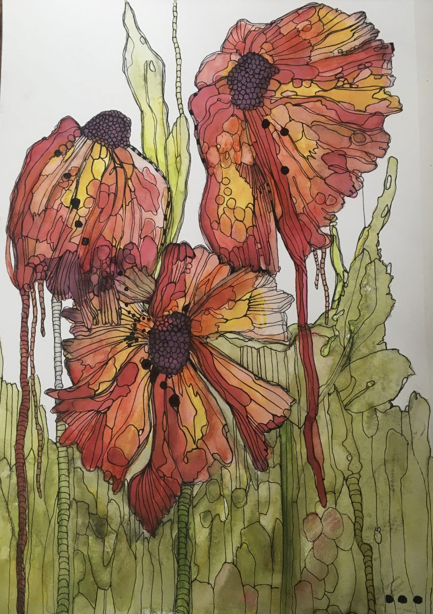 Imaginary flowers in shades of red and orange.