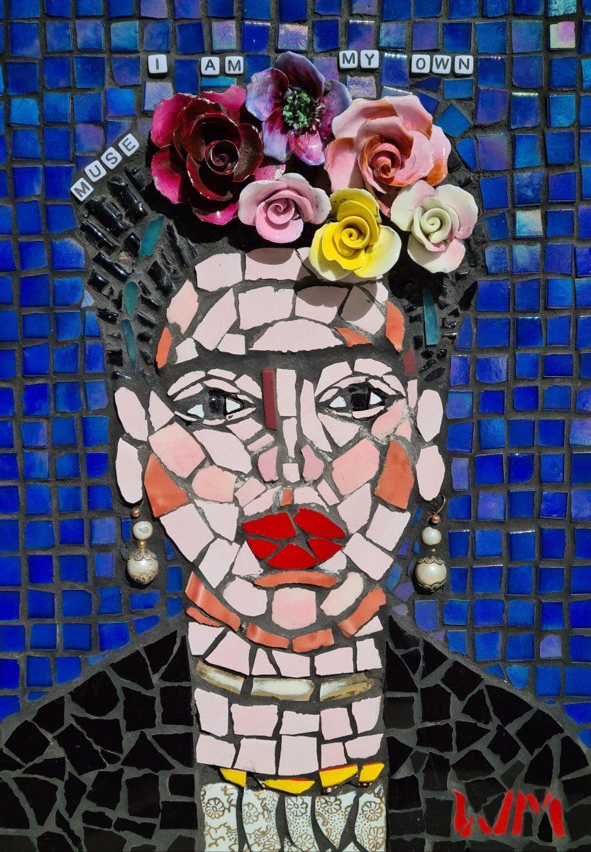 A colourful mosaic depicting the artist Frida Kahlo