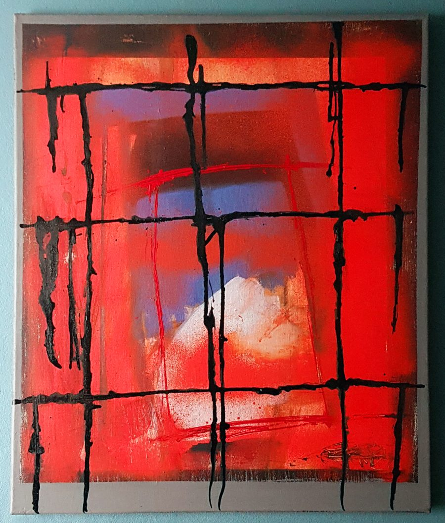 An abstract oil painting with a black grid in the foreground, a spray of red behind which almost obscures a white peak in the background