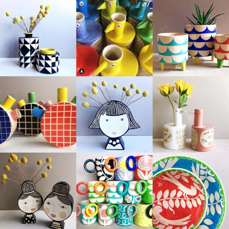 Colourful patterned ceramics