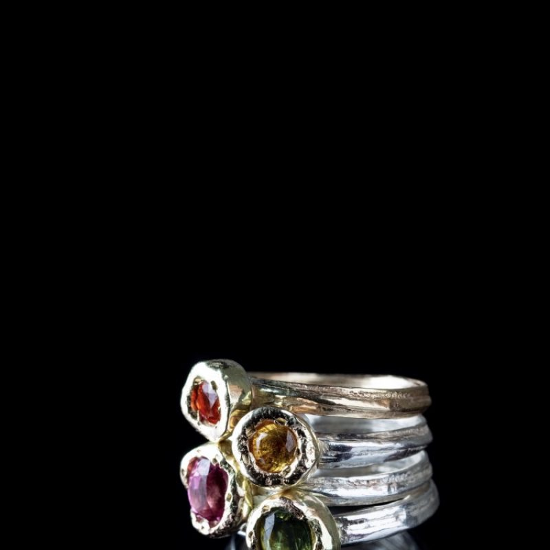 4 nugget rings with different semiprecious stones
