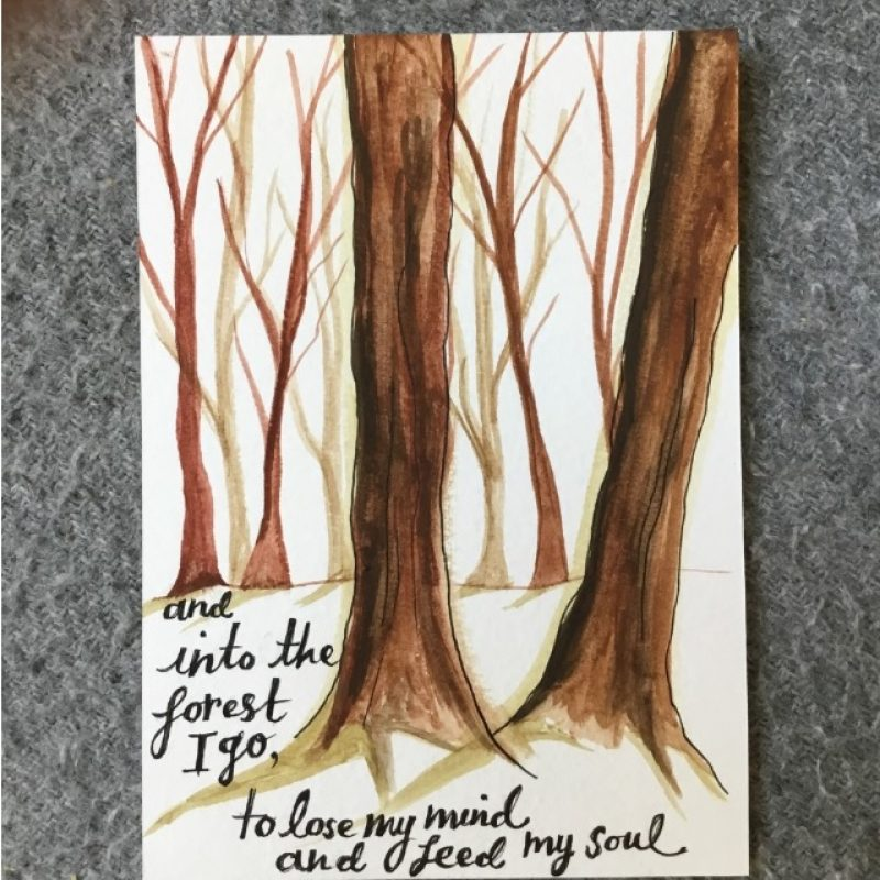 Postcard with two large brown trees painted in the foreground and smaller ones behind. The writing 'and into the forest I go, to lose my mind and feed my soul' at the bottom of the card.