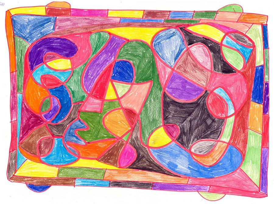 Abstract drawing in coloured pencils with flowing lines and shapes.