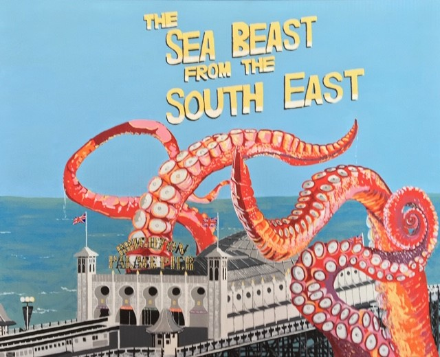 Brighton Pier being attacked by giant octopus tentacles