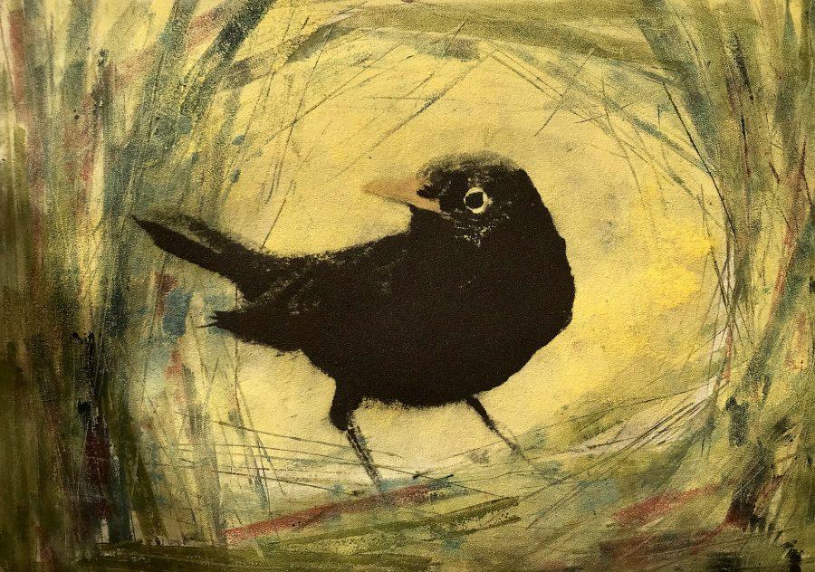 Printed image of Blackbird on the ground