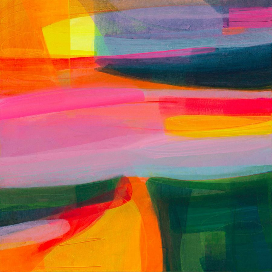 Bright bold expressive painting of the South Downs using joyful colours and fluorescence.