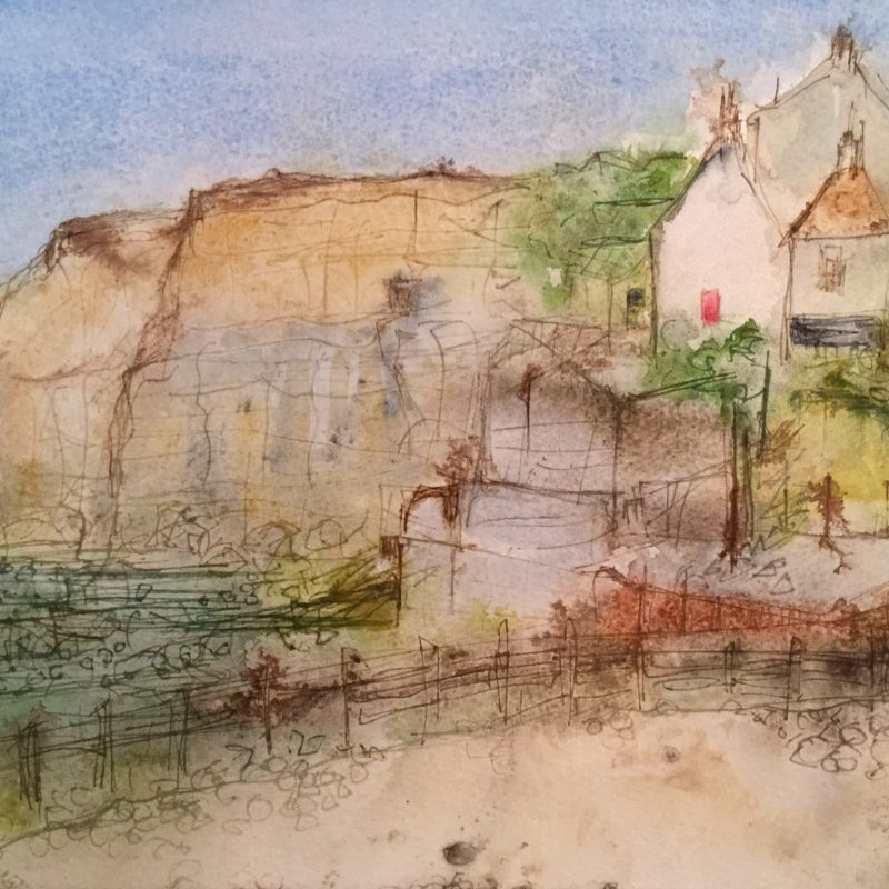 The famous Coastguard cottages at Birling Gap. But a different viewpoint from he beach towards the cottages.