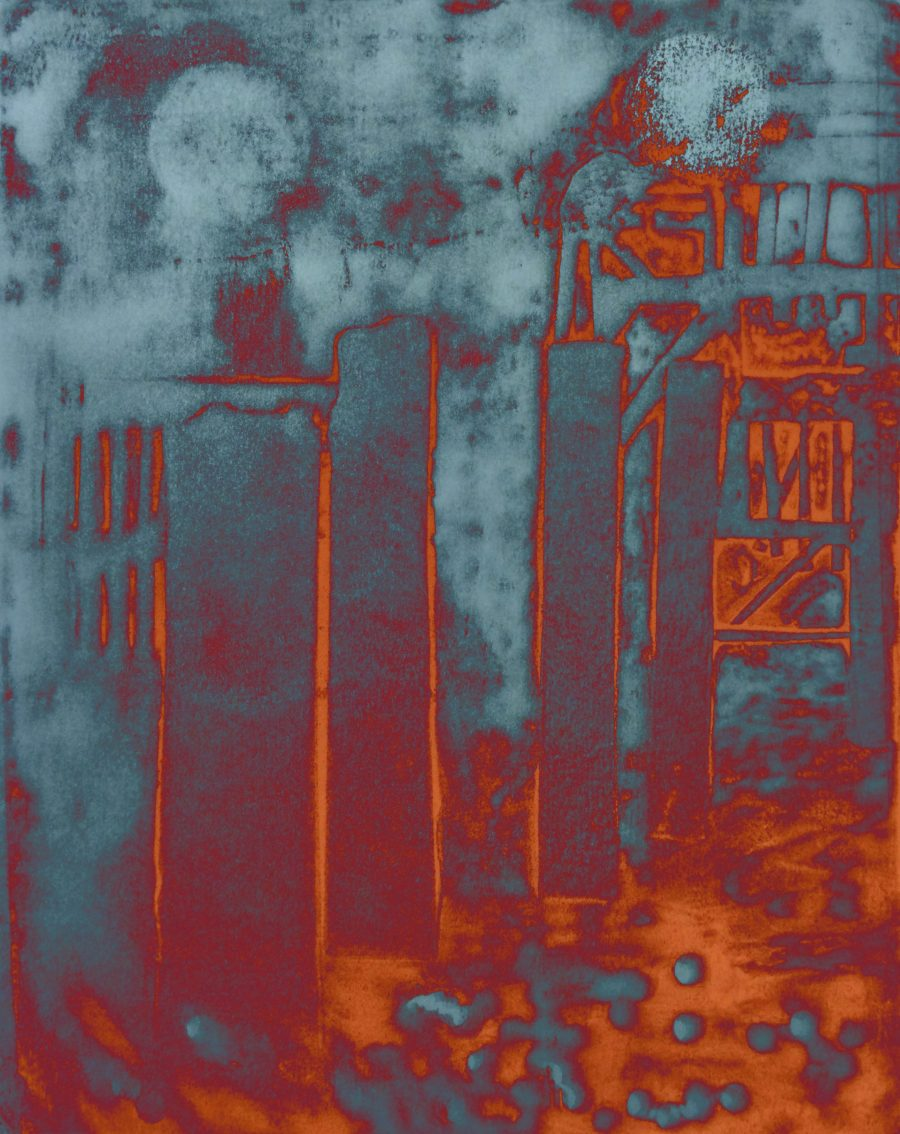 A colourful abstract print depicting part of the West Pier and the columns leading to it.