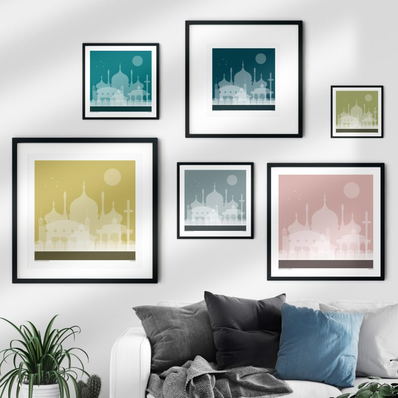 A gallery wall featuring 6 frames with illustrations of Brighton landmarks