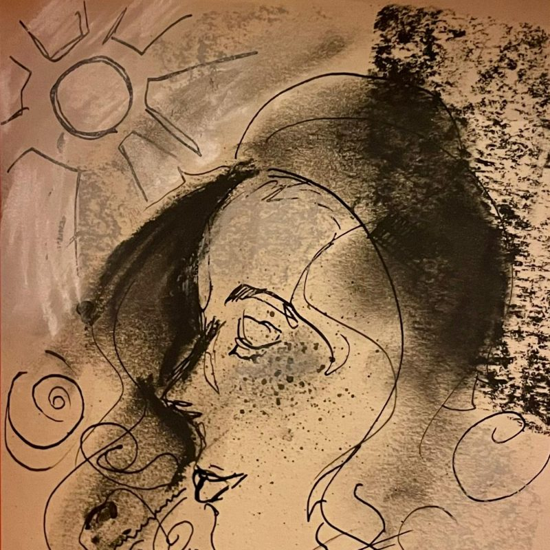A drawn image of a woman. Her face fills most of the canvas with a sun hanging in the upper left hand corner.