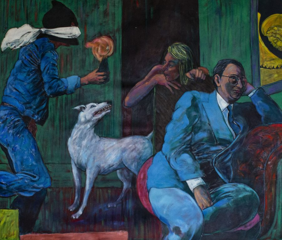 This is a large and mysterious figurative painting, inhabited by three figures - one of which is wearing a mask and is rushing in holding what might be a bomb or device. Surreal in feel and beautifully observed.