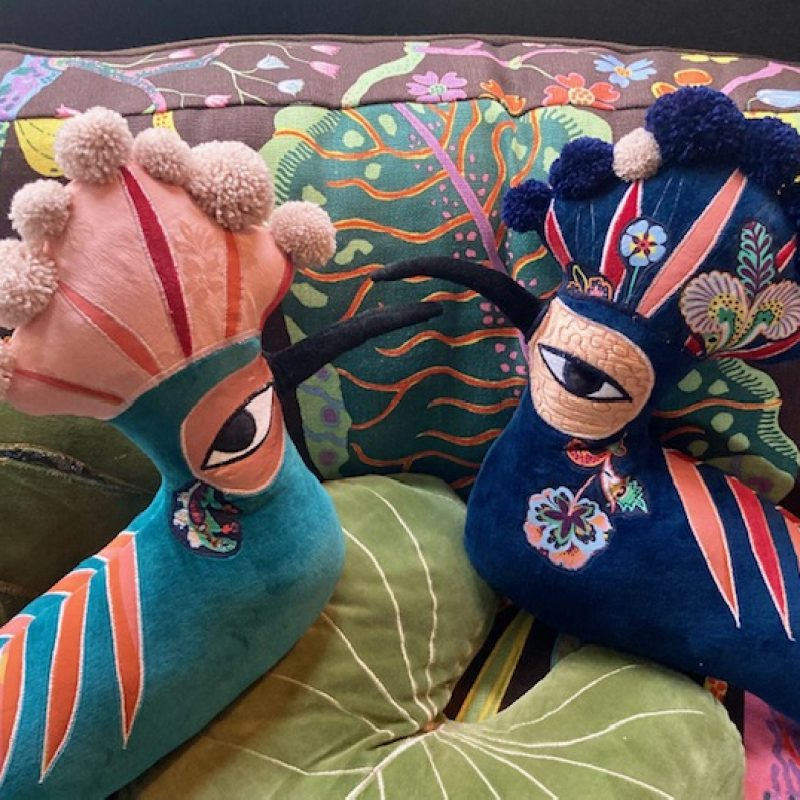 This charming Hoopoe bird has become a firm favourite among my animals . Hoopoe is made from the soft vintage cotton velvets and silks with hand made Pom poms for the striking Crest .