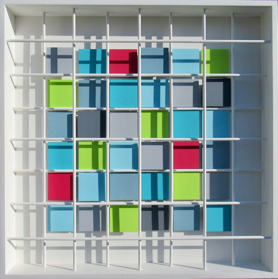 Three dimensional coloured grid overlaid with dowel mesh.