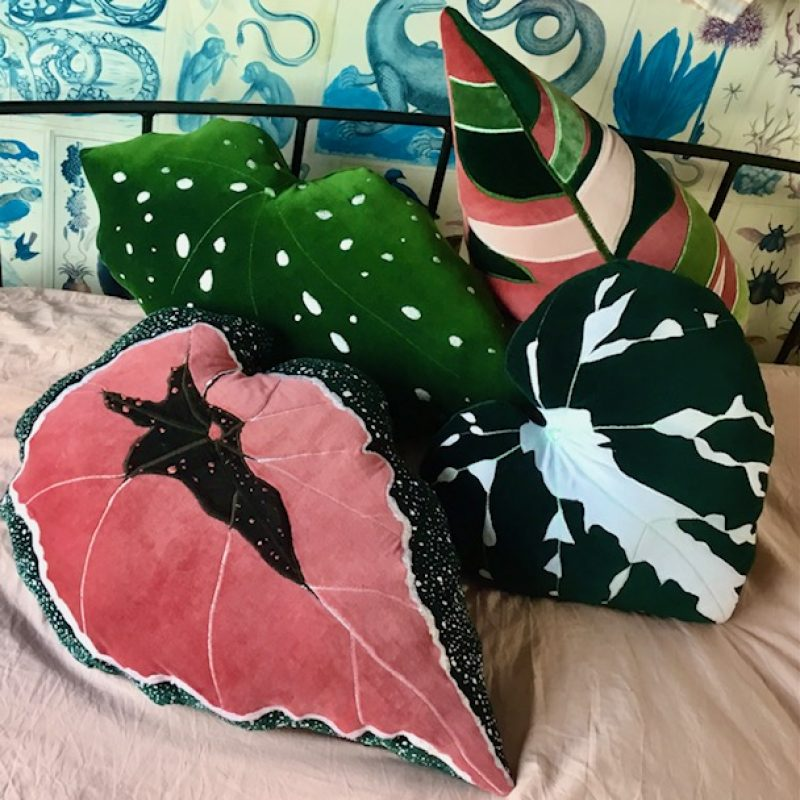 These lush velvet botanical leaf cushions are hand made using quality soft vibrant cotton velvet . Each leaf may vary as i make them by hand . Free hand machine embroidery on the cotton velvet has been added for the Veins .