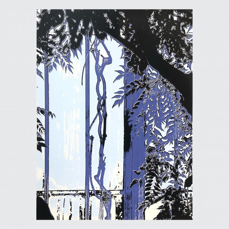 Screenprint of plants in a tropical palm house in hues of blue and purple