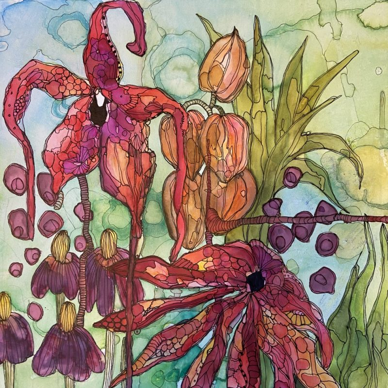 MANIC BOTANIC 85 organic painting by Janie Ranger