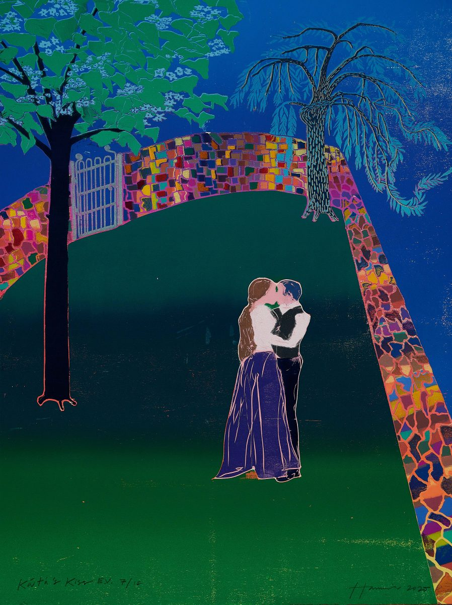 Kát'a Kabanová and Boris Grigorjevč are joined in body and spirit, their faces and clothing merged into one; they stand at the end of a secret walled garden surrounded as a premonition by the River Volga. The kaleidoscopic coloured wall is a synesthetic device to conjure up the passion in their hearts
