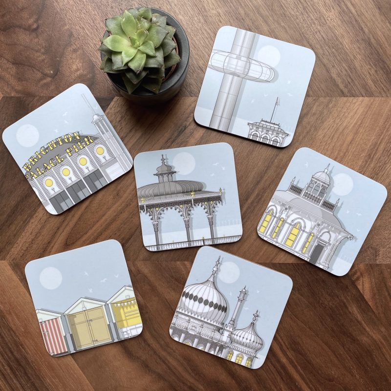 A group of coasters showing ilustrations of Brighton's most recognisable landmarks