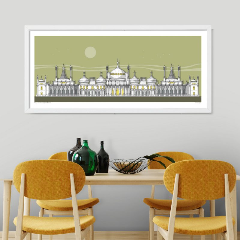 A framed illustration of the Brighton Royal Pavilion on a green background