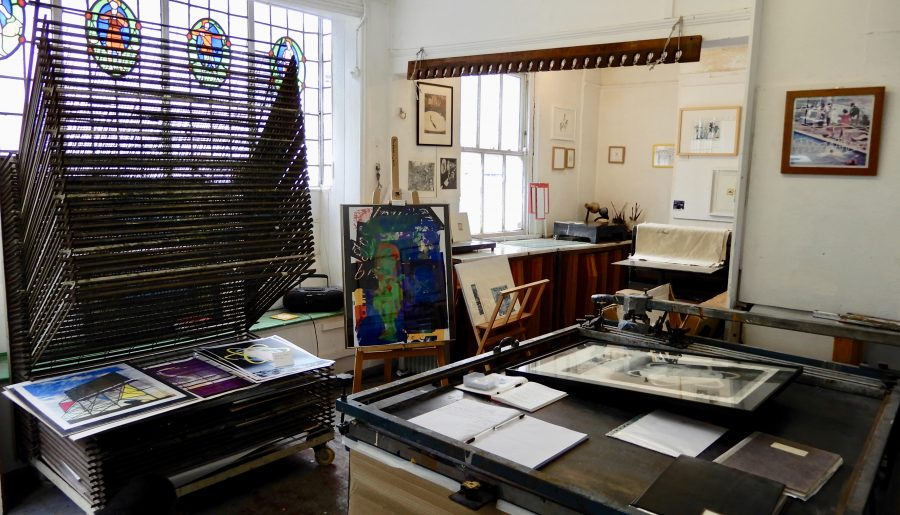 Image of inside North Star Studio Ltd. showing print facilities and artwork displayed in surrounding space.