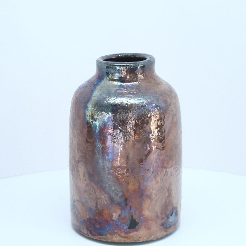 Metallic lustre raku pot