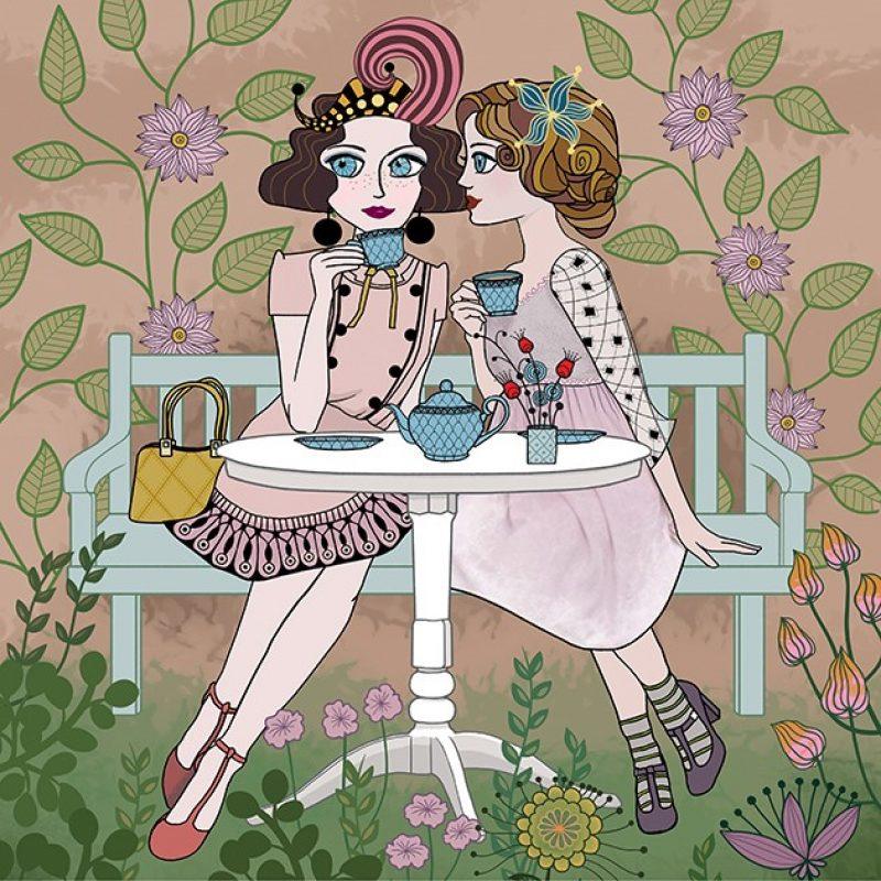 Illustration of two ladies titled 'Garden Tea'