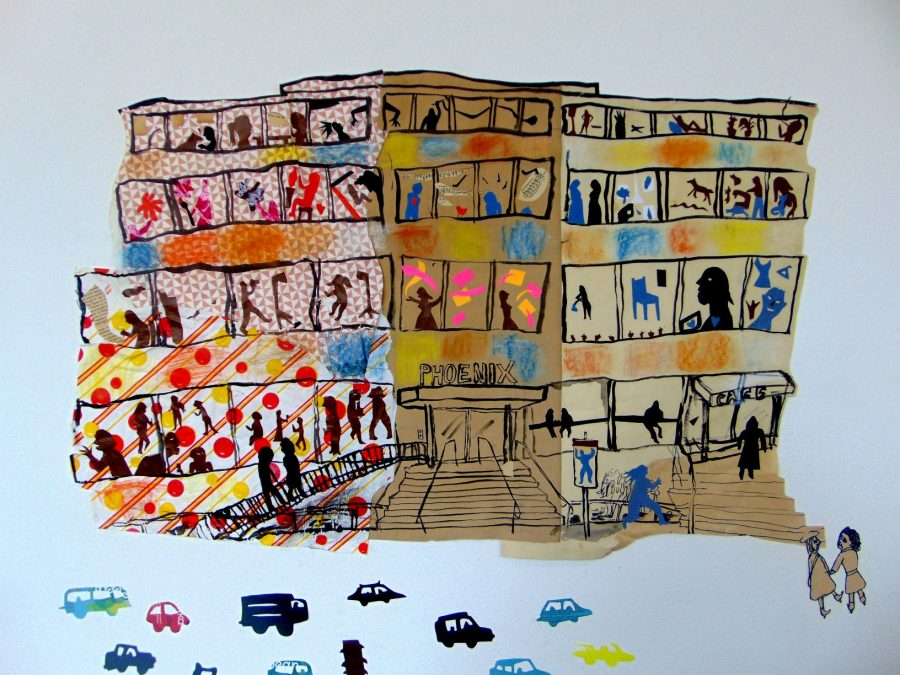 A view of our building made from colourful collage, showing artists working in their studios, visitors looking at paintings in the gallery and sitting in the Phoenix cafe. On the road cars are driving past.